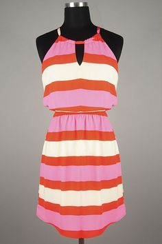 *** New Style *** Girly Lightweight Woven Sundress in Colorful Mixed Stripes with Cutout Accent Drawstring Neckline.
