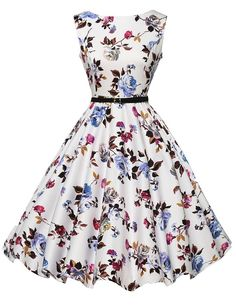 2015 Audrey Hepburn Vestidos S-2XL Plus Size Women Floral Print Party Robe Rockabilly 50s Vintage Dresses With Belt D57232