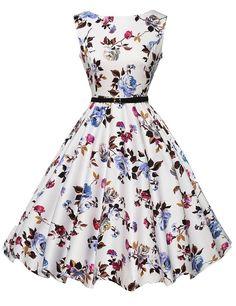 2015 Audrey Hepburn Vestidos S-2XL Plus Size Women Floral Print Party Robe Rockabilly 50s Vintage Dresses With Belt D57232