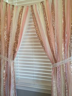 Rose Gold Garland Curtain Is Made With A Blends Of Ivory White Blush And