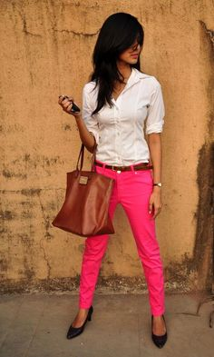 Crisp white shirt, black pointy shoes, brown accessories and of course Hot pink pants. Spring here we come!