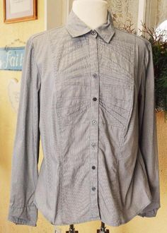 Dalia Collection Pinstripe Pleated Blouse Shirt XL Classic Party Wear w/Jeans #DaliaCollection #Blouse #CasualDressy