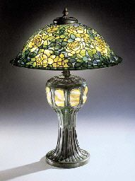 Tiffany A 'ROSE' LEADED GLASS, TURTLEBACK TILE AND BRONZE TABLE LAMP