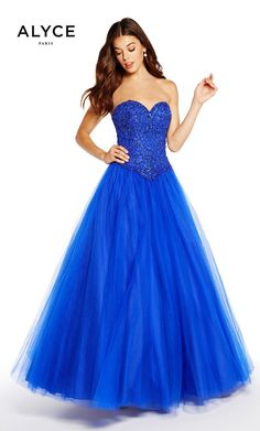 Prom Dresses Evening Dresses by ALYCE PARIS<BR>aay60205<BR>Strapless tulle waltz length ballgown with a sweetheart neckline, beaded corset and lace up back.