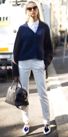 Karolina Kurkova in navy dries van noten sweater, antipodium for asos shoes