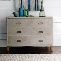 Atelier Leather-Wrapped 3-Drawer Dresser – Gray