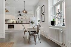 Tolix & white Swedish kitchen