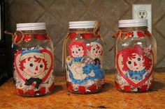 Raggedy Anne and Andy Mason Jars Set of by CraftsByJoyice on Etsy