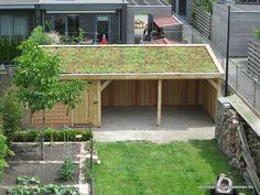 Eikenhouten tuinhuis met tuinkamer voorzien van Groendak Garden Bike Storage, Garden Office Shed, Sedum Roof, Canopy Glass, Garage Roof, Awning Canopy, Bungalow House Plans, Bike Shed, Building Exterior