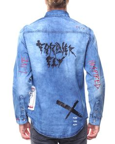 Man Shirt, Denim Shirt Men, Shirt Jacket, Denim Jeans, Denim Button Up, Button Up Shirts, Boys Shirts, Play, Long Sleeve