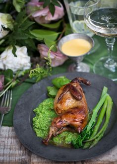 Roasted on with and a sauce Roasted Quail, A Moveable Feast, Tandoori Chicken, Food Styling, Asparagus, Food Photography, Champagne, Celebration, Turkey