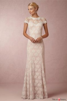 New Arrival Vintage Sheath Ankle-Length Zipper Pattern Lace Wedding Dress