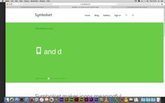 Symbolset A color-changing background with animated white type make this site one-of-a-kind.