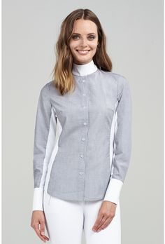 Command the boardroom or the show ring with the light grey #Oxford #ShowShirt from #AsmarEquestrian!
