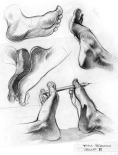 Enjoy a collection of references for Character Design: Feet Anatomy. The collection contains illustrations, sketches, model sheets and tutorials… This Drawing Techniques, Drawing Tips, Drawing Reference, Drawing Sketches, Pencil Drawings, Art Drawings, Drawing Ideas, Foot Anatomy, Anatomy Drawing
