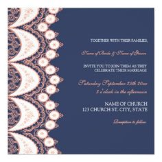 Coral Blue Lace Pattern Wedding Invitation Cards