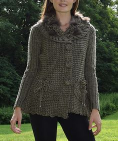 Another great find on #zulily! Taupe Faux Fur Wool-Blend Cardigan #zulilyfinds