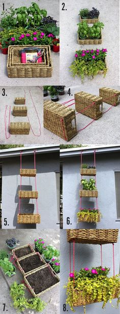 DIY Hanging Basket Garden- do a tiered basket or just use one! These reed baskets are often cheaper than hanging baskets from the garden shop! Hanging Basket Garden, Hanging Baskets, Garden Planters, Hanging Planters, Basket Planters, Woven Baskets, Hanging Gardens, Wicker Baskets, Planter Boxes