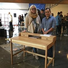 We had a great time at the opening night of @showpdx  last week. Our prototype for the new Maud desk made it in. Congratulations to Taryn, our furniture designer and Hilario, the craftsman who built it. Join us tonight for maker night at 1836 NE 7th ave at 6 pm and get a sneak peek at this new design. For more info visit showpdx.com #showpdx2016