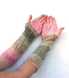 Long Lace Knit Fingerless Gloves Mittens