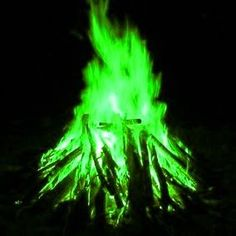 How to make color fire...Ummm this is really awesome. Not for cooking. Color = Chemical; Carmine = Lithium Chloride; Red = Strontium Chloride;Orange = Calcium Chloride (a bleaching powder); Yellow = Sodium Chloride (table salt) or Sodium Carbonate;Yellowish Green = Borax;Green = Copper Sulfate ( from a hardware store ) or Boric Acid (poison); Blue = Copper Chloride;Purple = Potassium Chloride;White = Magnesium Sulfate (Epsom salts) ;