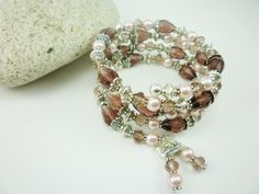 Wrapped in Romance, Light Pink Pearls, Dusty Plum Crystals, Antique Silver Bracelet by peakaydesigns on Etsy
