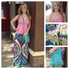 Jena's look is stunning! Colorful palazzo pant, simple tank and bright accessories. Love it. Need it. Gotta have it!  Southern Thread Austin, TX.