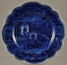 "John Rogers & Son ""Musketeer"" Dark Blue Staffordshire Transfer 7 Inch Plate 1820"