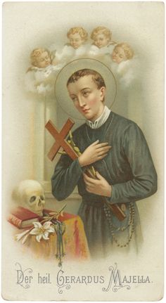 A quiet and humble lay brother in the newly found Redemptorist order, St. Gerard Majella did not display his great mystical gifts until the . St Gerard Majella, Society Of Jesus, Religious Images, Catholic Gifts, Prayer Cards, Roman Catholic, French Vintage, Saints, Prayers