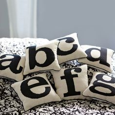 Alphabet Needlepoint Pillow - traditional - pillows - by PBteen Monogram Pillows, Letter Pillow, Girls Bedroom Furniture, Bedroom Ideas, Teen Furniture, Plywood Furniture, Modern Furniture, Furniture Design, Decor Pillows