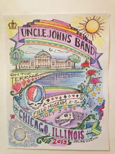 Uncle John's Band music poster drawn by Jules Cozine