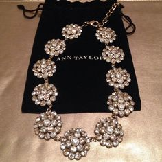 Sparkle Necklace Crystal-like stones create a beautiful necklace perfect for a little black dress!  Excellent condition, never worn. Dust bag included. Ann Taylor Jewelry Necklaces