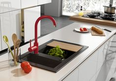 Kitchen with red mixer, Deante.