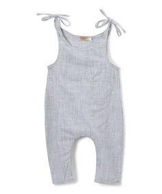 1e25a50a1d4b Gray Pinstripe Shoulder-Tie Romper - Infant