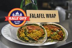 YUM! West End Strollers has half off falafel wraps and chicken club wraps for $5.50 as a part of our Half Off at the Hall promotion!   http://www.faneuilhallmarketplace.com/halfoff