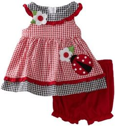 There's actually a LadyBug dress we don't already own! Look at this Red Gingham Ladybug Dress & Bloomers - Infant by Good Lad Cute Baby Girl Outfits, Girls Summer Outfits, Cute Outfits For Kids, Smocked Baby Dresses, Little Girl Dresses, Teddy Bear Clothes, Baby Boutique Clothing, Red Gingham, Baby Girl Newborn