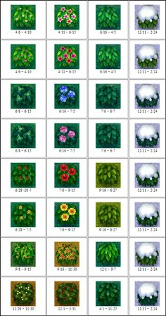 All flowers/bushes in Animal Crossing New Leaf; - image is only of bushes, link contains list