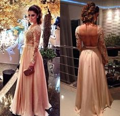 Blush Pink Backless Vintage Long Sleeves Lace Prom