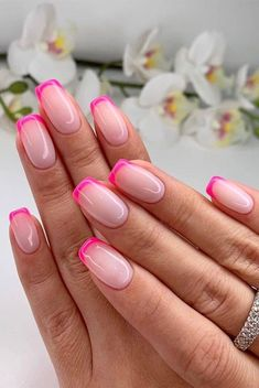 Gorgeous summer nail colors & designs to try this summer - - When it comes to our new look. It's not just our wardrobes that change with the seasons, but our nails too. If you need summer nail. Swag Nails, My Nails, Pink Tip Nails, Pastel Nails, Short Pink Nails, S And S Nails, Cute Short Nails, Zebra Nails, Short Gel Nails