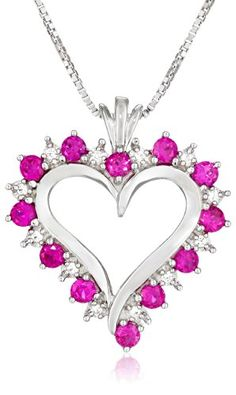 Sterling Silver Created Ruby and White Cubic Zirconia Heart Pendant Necklace  18 ** Check out the image by visiting the link.