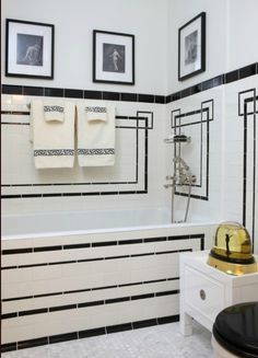 Jessica Lagrange Interiors Art Deco Bathroom With Drop In Tub And Vintage White Subway Tile Surround Black