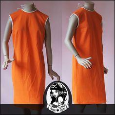 Vintage 1960s Original Orange Twiggy Shift MOD Scooter GOGO Tie Neck Dress 14UK