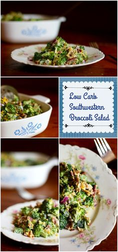 Low carb southwestern broccoli salad has 5.7 net carbs. Spicy, smoky flavors are blended into a creamy dressing that makes this the perfect summer side dish. From Lowcarb-ology.com