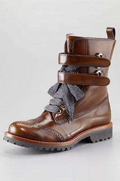 Brunello Cucinelli Spazzolato Wing Tip Ankle Boot