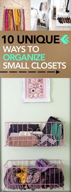 10 Unique Ways to Organize Small Closets - #organizeclosetideas