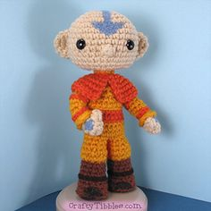 This is a pattern to make Aang from Avatar the Last Airbender.