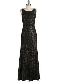 All Agleam Dress. Youll shimmer the moment you breeze through the banquet doors when youre arrayed in this stunning black evening gown. #black #prom #modcloth