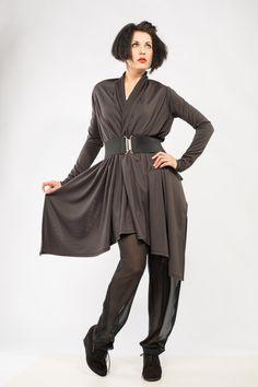 Dark Gray Women's Cardigan Soft Jersey Sweater High-low hem with belt Made to order by DariaKaraseva on Etsy