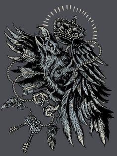 Raven King by Derrick Castle #raven #crown #illustration