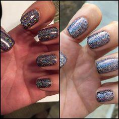 CND shellac: Black pool with Dream lily additive. #CND #Shellac #Manicure #Blackpool #Dreamlily #Additive #NailArt #Nails #Glitter #SolaSalon